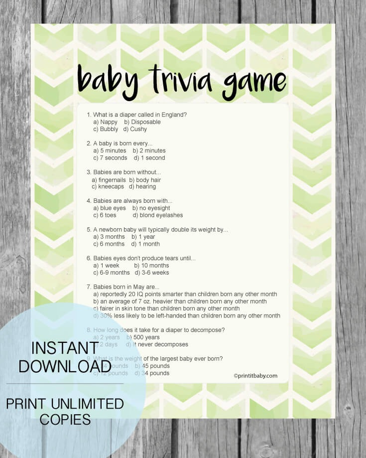 Printable Lime Green Arrow Baby Shower Trivia Game Print It Baby