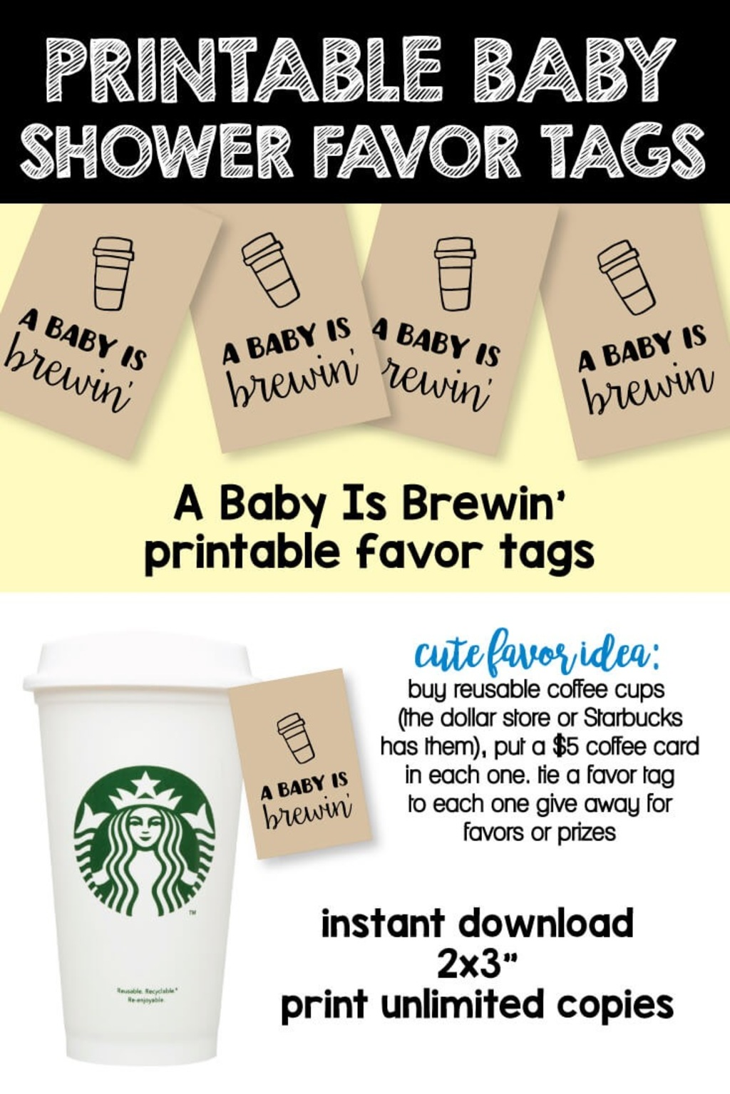 Printable A Baby Is Brewing Favor Tags Printitbaby Com