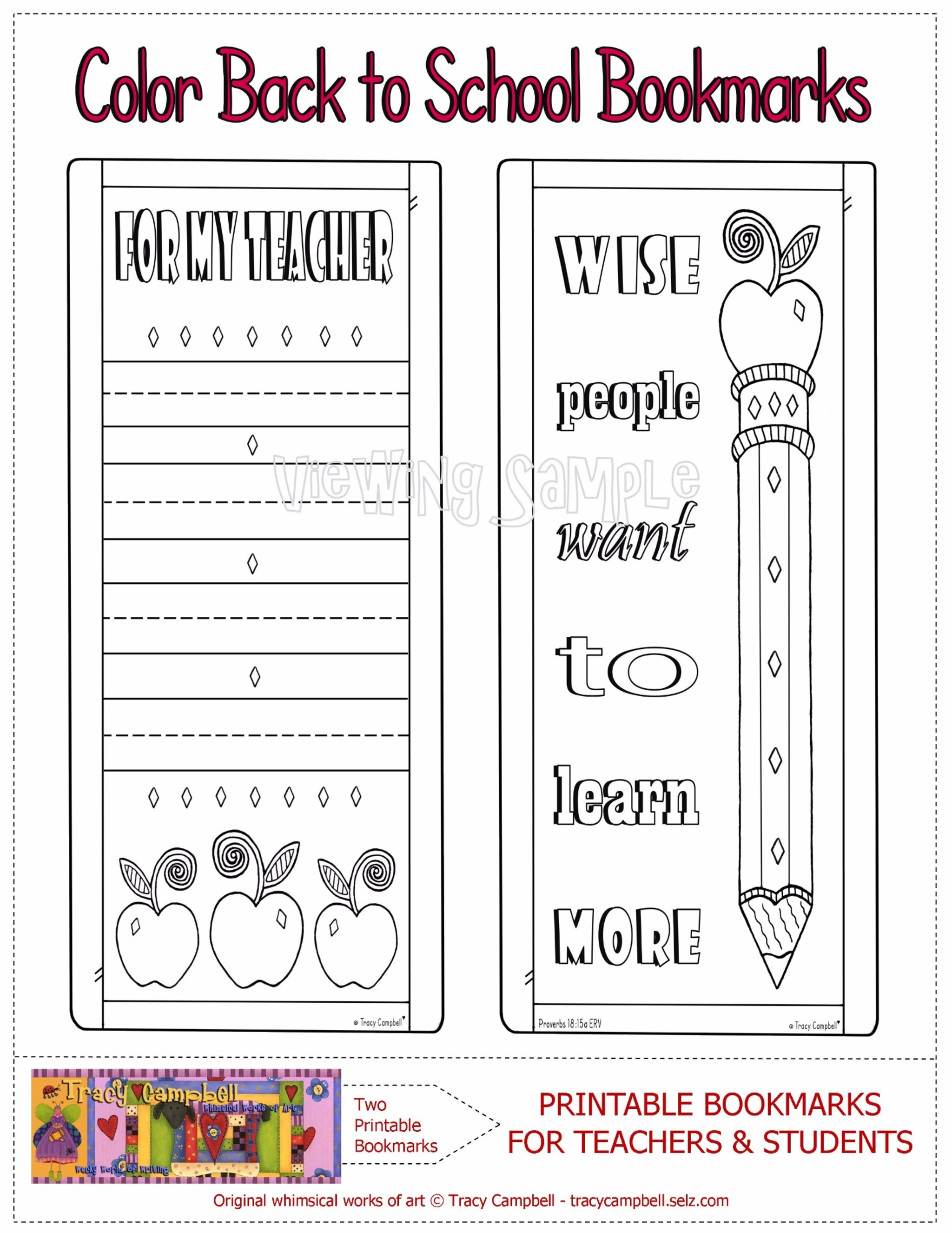 COLOR PRINTABLE BACK TO SCHOOL BOOKMARKS