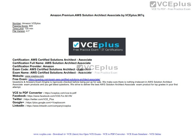 Aws Certified Solutions Architect Associate Vceplus Premium