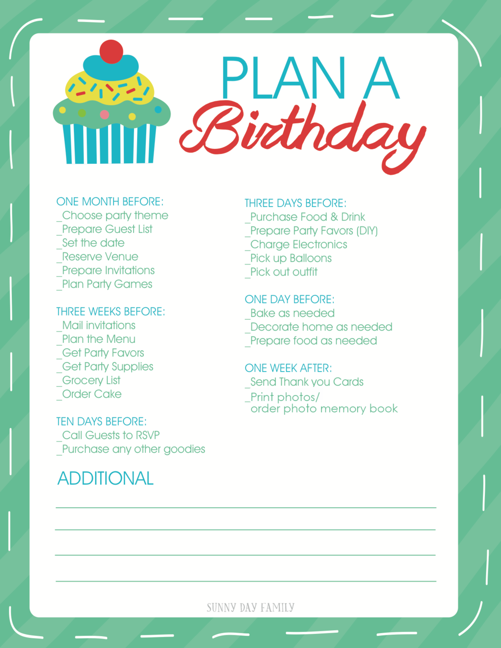 Free Printable Birthday Party Planner  Birthday Party Guest List