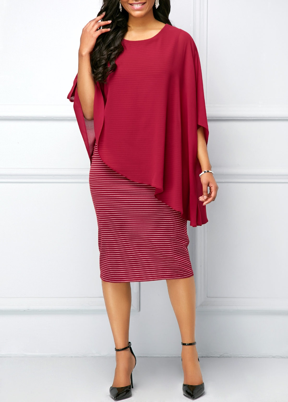 b8c3310c5cf Three Quarter Sleeve Striped Chiffon Overlay Dress - Born To Shop