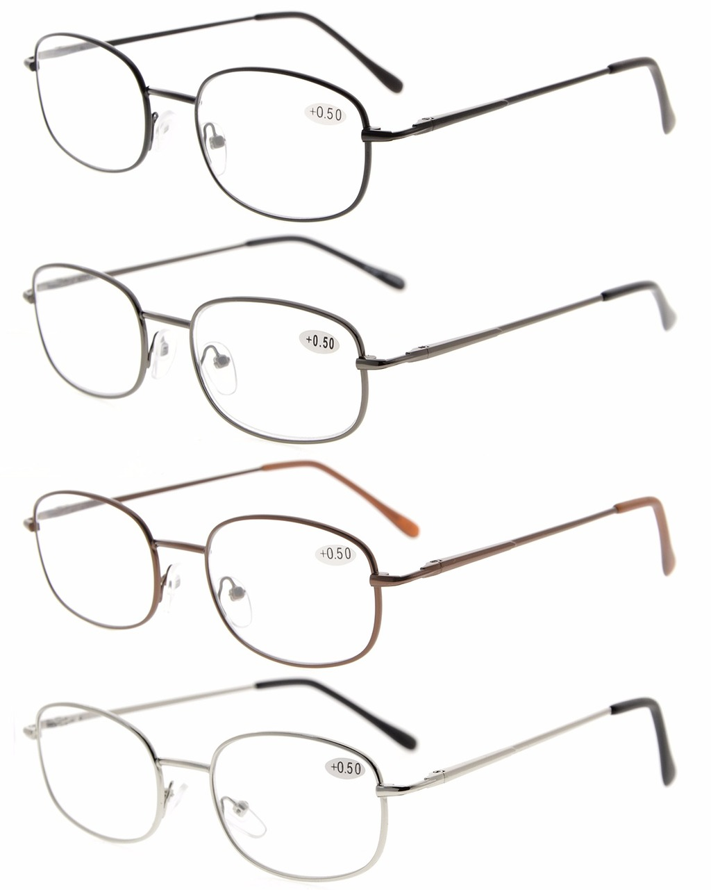 44092502b54 Eyekepper Metal Frame Spring Hinged Arms Reading Glasses Pack Of 4