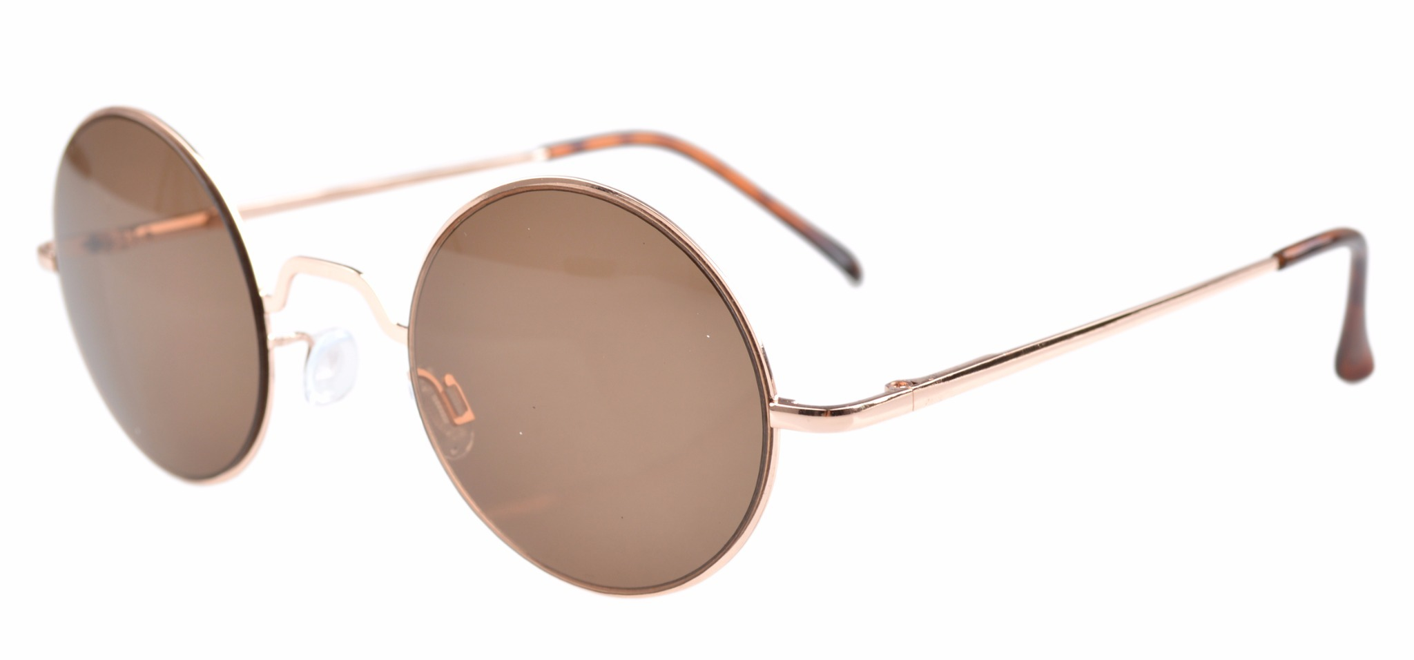 Eyekepper Spring Hinges Round Sunglasses R1503-Brown lens-0.0