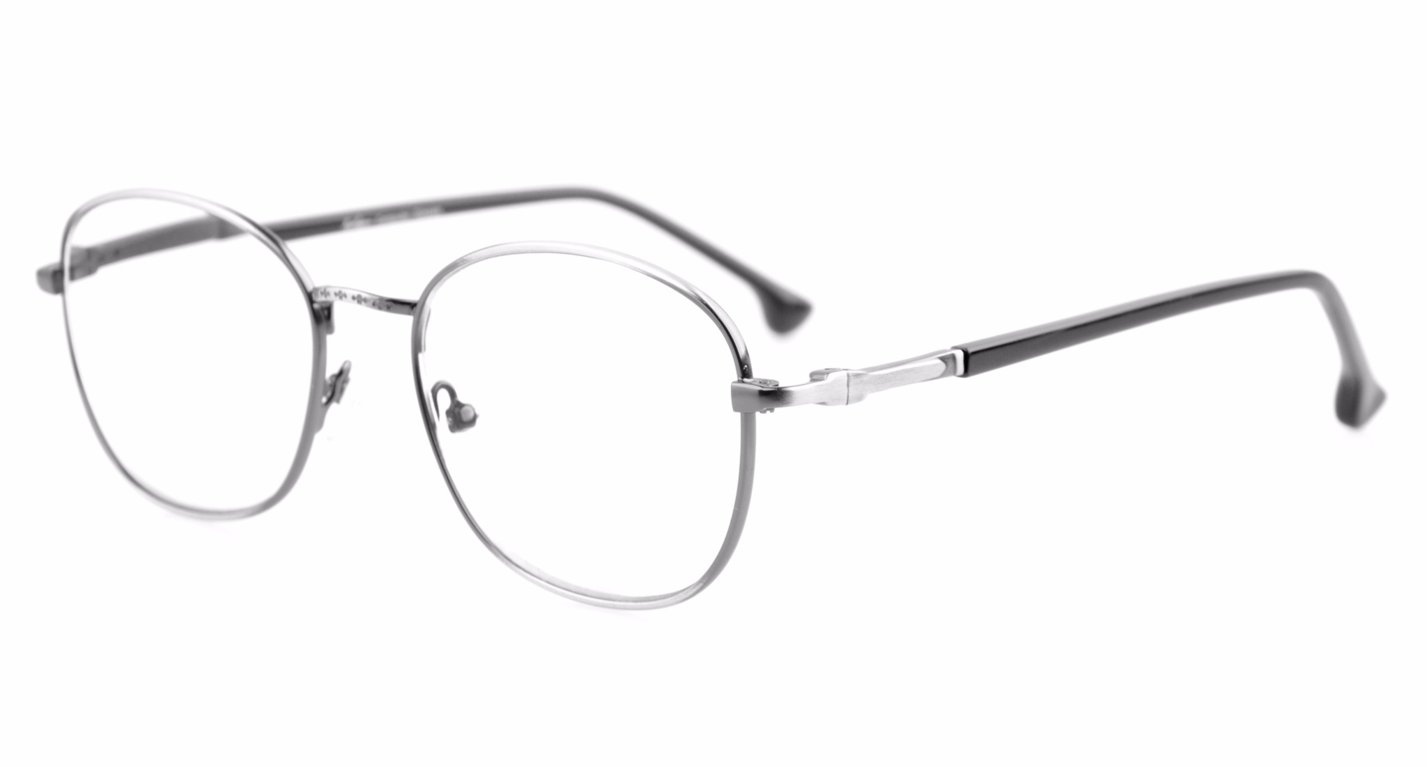 Eyekepper Retro Spring Hinges Glasses Eyeglasses Frame R1621-Anti Silver-0.0