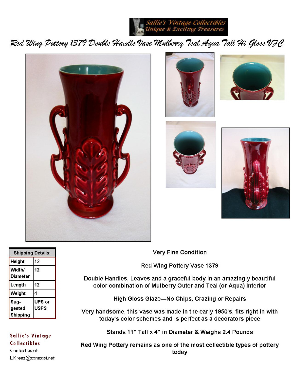 Red wing pottery 1379 double handle vase mulberry teal aqua tall image 0 reviewsmspy
