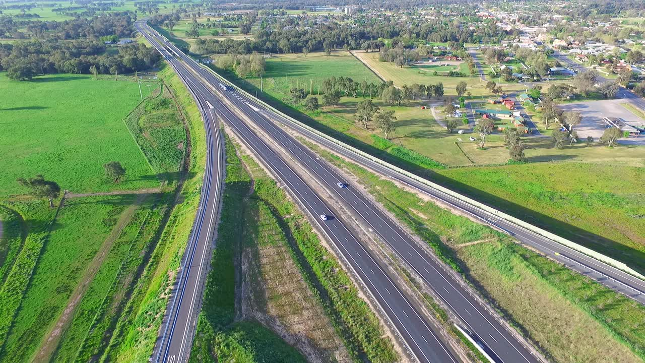 Aerial Footage of Hume Highway Interchange Exit  Transport, Freeway,  Trucks, Australian Roads - Hypervision
