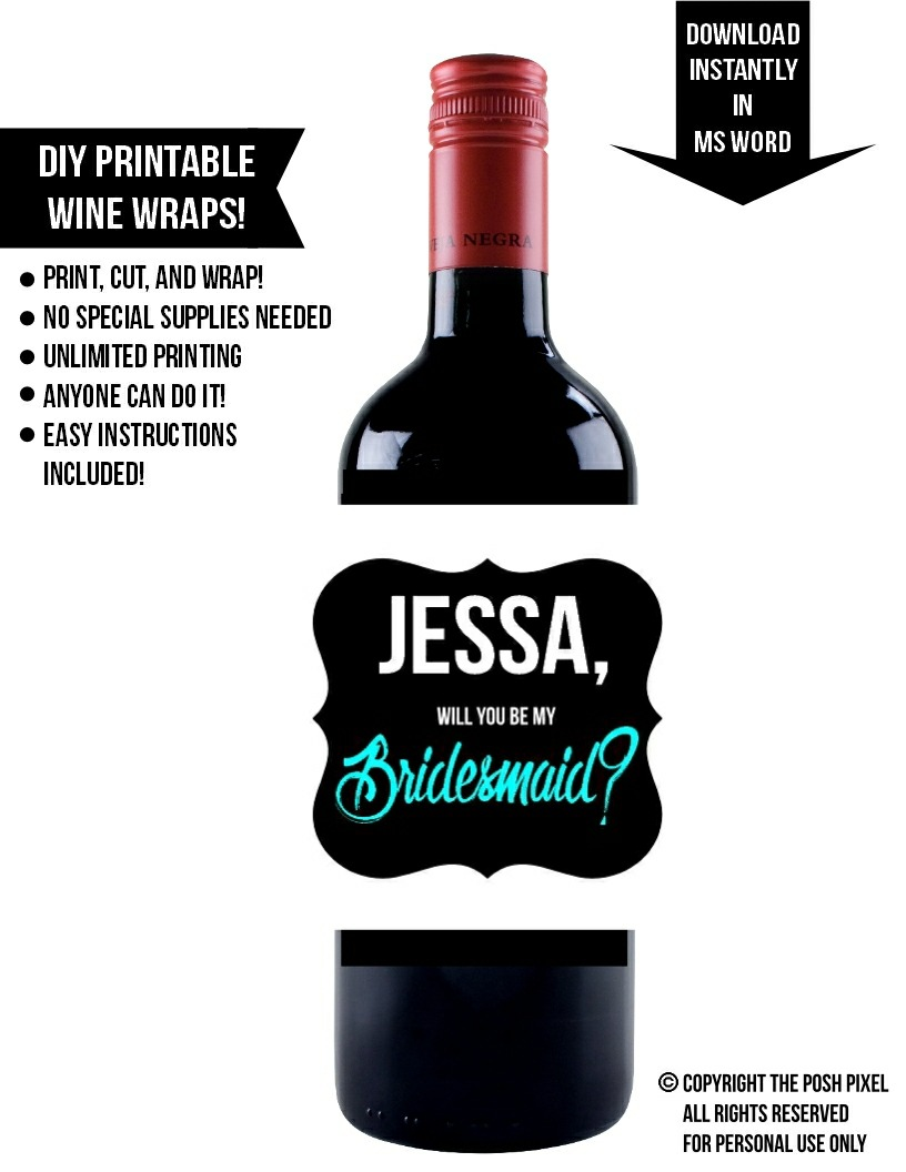 photograph about Printable Wine Labels referred to as Printable Wine Label - Posh Pixel Boutique